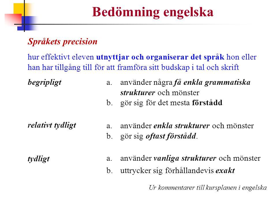 Bedömning engelska Språkets precision hur effektivt eleven utnyttjar och organiserar det språk hon eller han har tillgång till för att framföra sitt b