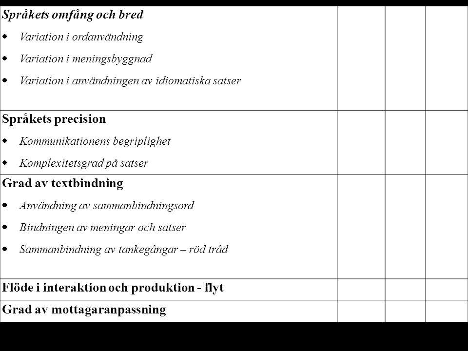 Språkets omfång och bred  Variation i ordanvändning  Variation i meningsbyggnad  Variation i användningen av idiomatiska satser Språkets precision