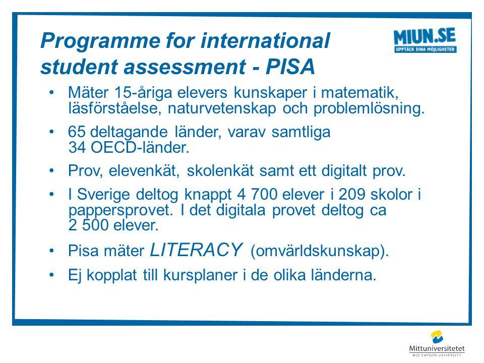 Programme for international student assessment - PISA Mäter 15-åriga elevers kunskaper i matematik, läsförståelse, naturvetenskap och problemlösning.