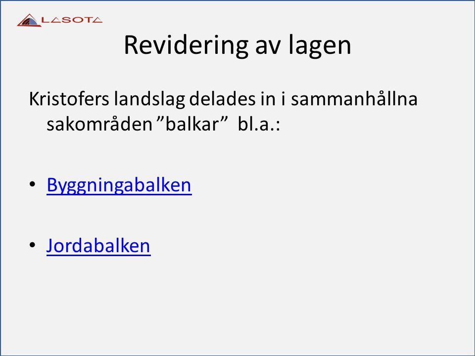 """Revidering av lagen Kristofers landslag delades in i sammanhållna sakområden """"balkar"""" bl.a.: Byggningabalken Jordabalken"""