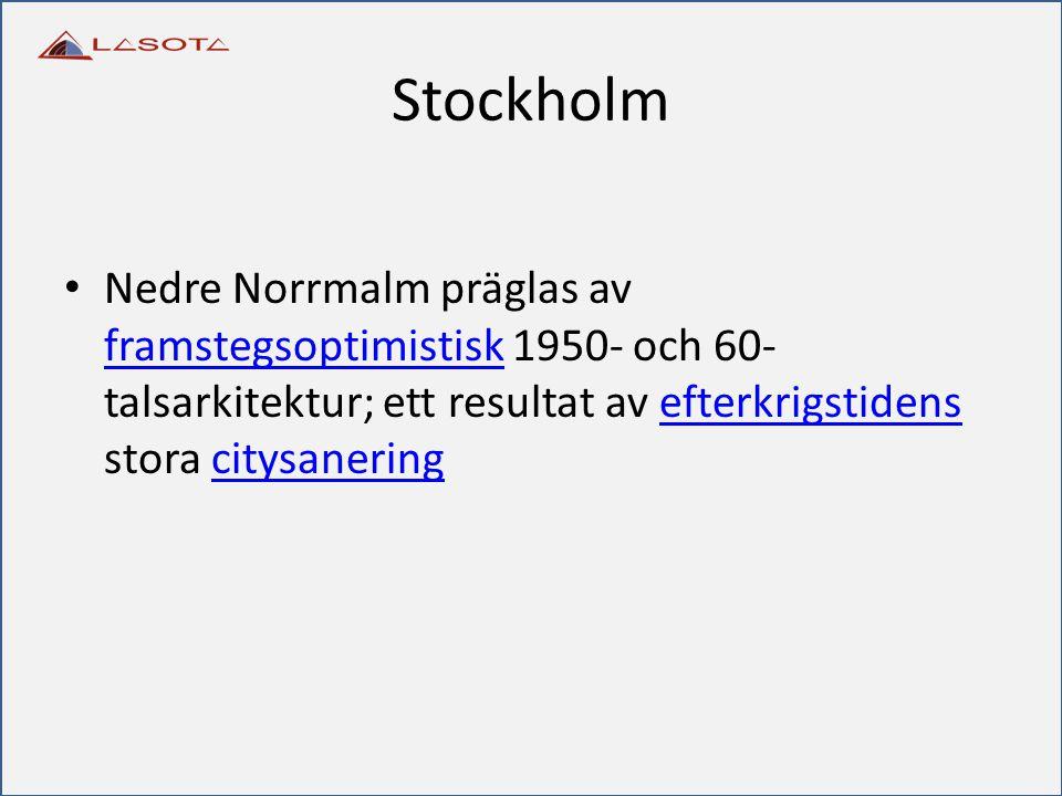 Stockholm Nedre Norrmalm präglas av framstegsoptimistisk 1950- och 60- talsarkitektur; ett resultat av efterkrigstidens stora citysanering framstegsop