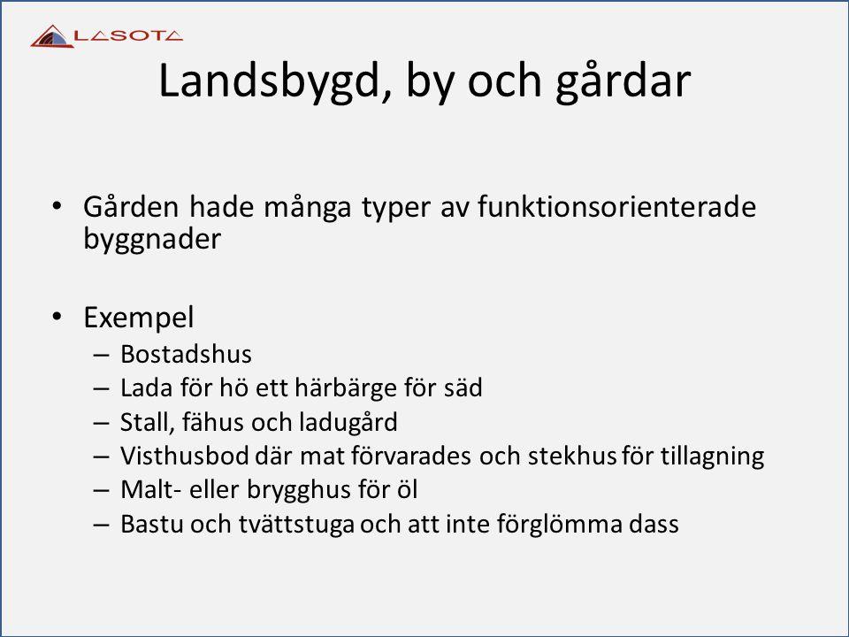 Gården hade många typer av funktionsorienterade byggnader Exempel – Bostadshus – Lada för hö ett härbärge för säd – Stall, fähus och ladugård – Visthu