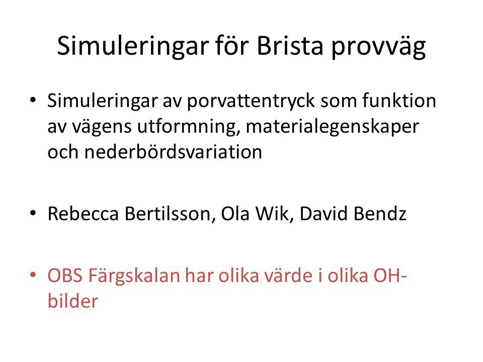 Simuleringar för Brista provväg Simuleringar av porvattentryck som funktion av vägens utformning, materialegenskaper och nederbördsvariation Rebecca B