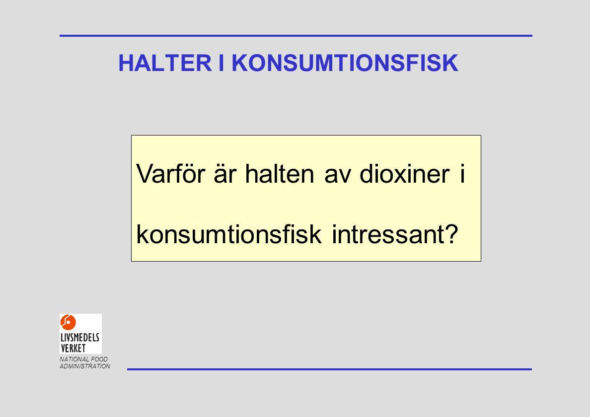 NATIONAL FOOD ADMINISTRATION HALTER I KONSUMTIONSFISK Behov av uppdatering för översyn av kostråd - folkhälsan Kommissionens gränsvärde för dioxiner Sveriges nationella undantag om fortsatt försäljning av fisk överstigande gränsvärdet