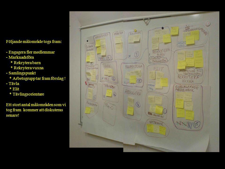 Följande målområde togs fram: - Engagera fler medlemmar - Marknadsföra * Rekrytera barn * Rekrytera vuxna - Samlingspunkt * Arbetsgrupp tar fram förslag .