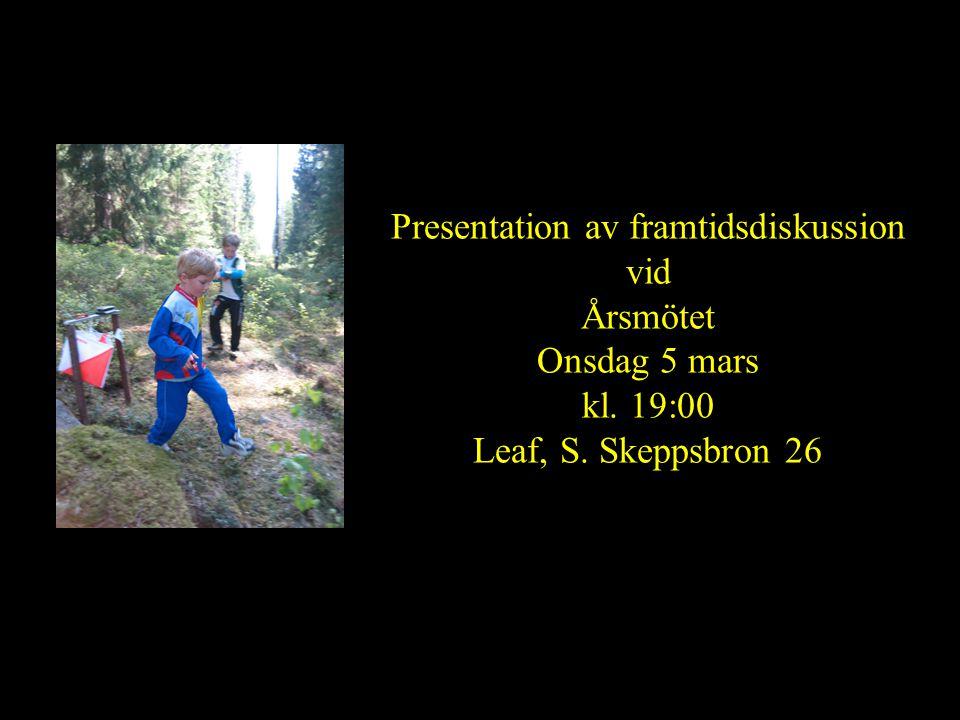 Presentation av framtidsdiskussion vid Årsmötet Onsdag 5 mars kl. 19:00 Leaf, S. Skeppsbron 26