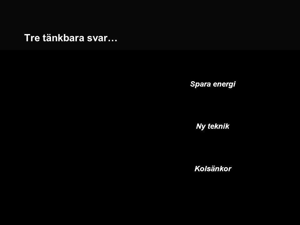 Tre tänkbara svar… Spara energi Ny teknik Kolsänkor