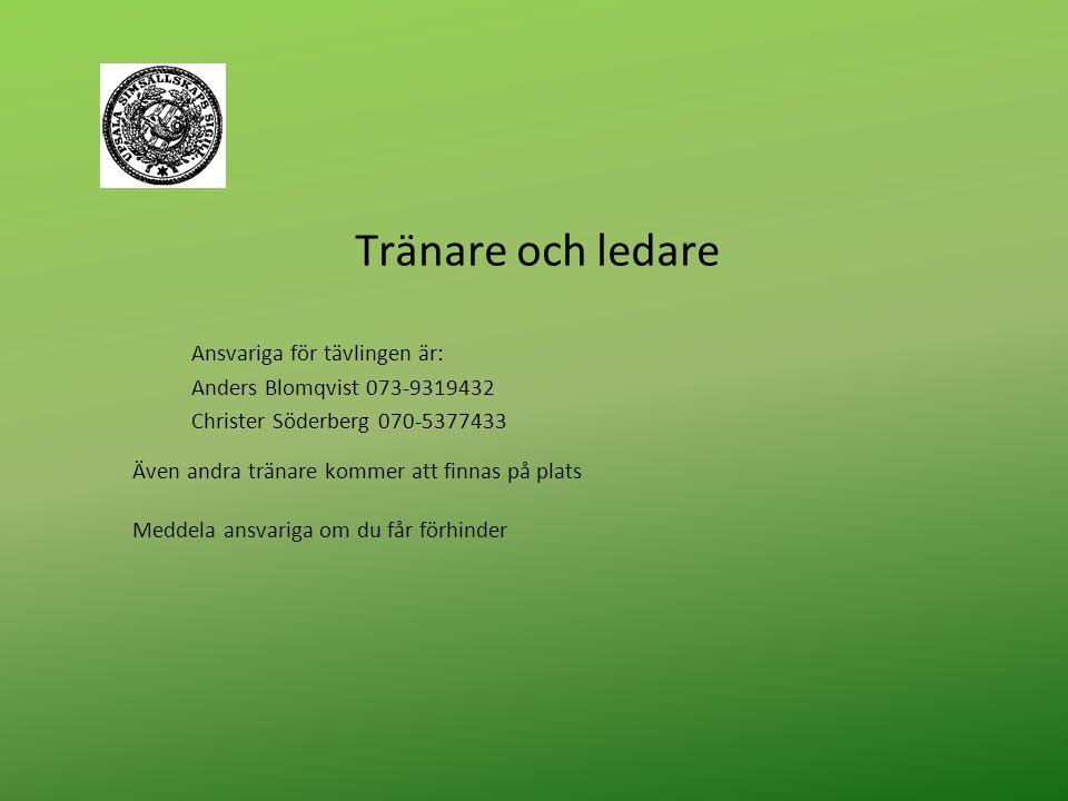 Tränare och ledare Ansvariga för tävlingen är: Anders Blomqvist 073-9319432 Christer Söderberg 070-5377433 Även andra tränare kommer att finnas på plats Meddela ansvariga om du får förhinder