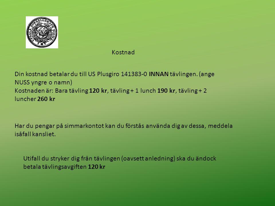 Kostnad Din kostnad betalar du till US Plusgiro 141383-0 INNAN tävlingen.