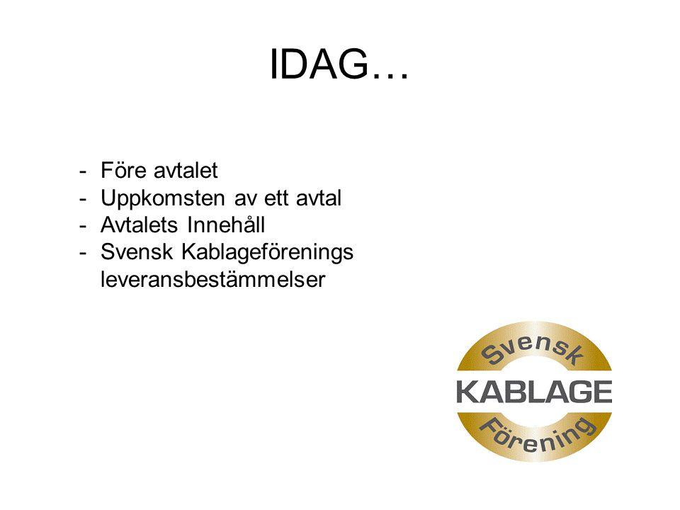 IDAG… -Före avtalet -Uppkomsten av ett avtal -Avtalets Innehåll -Svensk Kablageförenings leveransbestämmelser