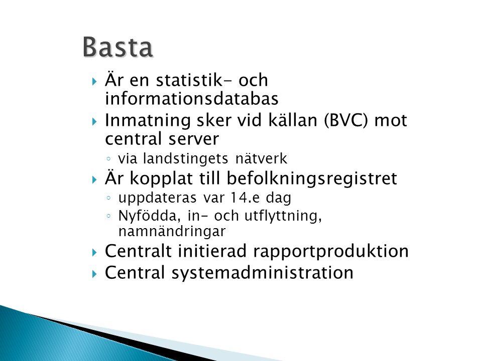 Basta  Är en statistik- och informationsdatabas  Inmatning sker vid källan (BVC) mot central server ◦ via landstingets nätverk  Är kopplat till bef