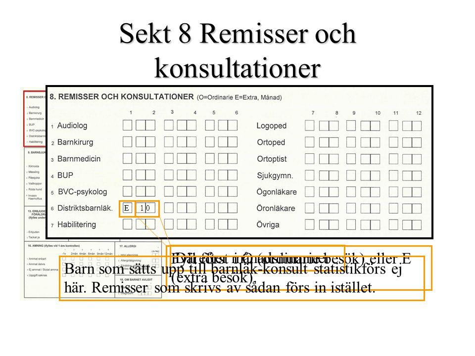 Sekt 8 Remisser och konsultationer Fyll först i O (ordinarie besök) eller E (extra besök). E Därefter månadsnummer E1 0 Barn som sätts upp till barnlä