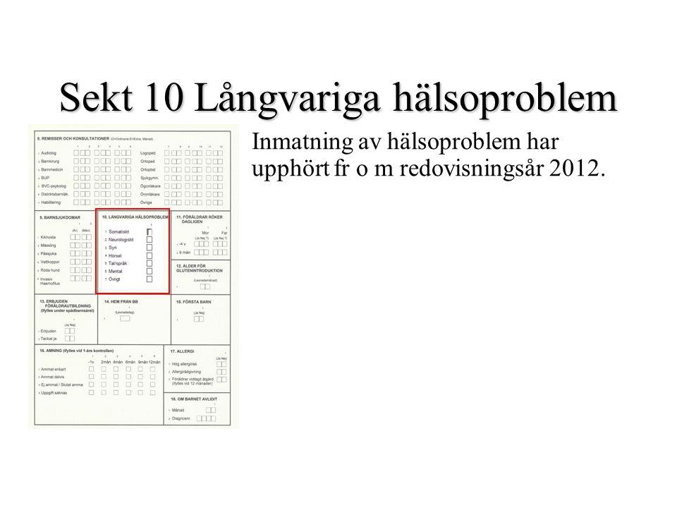 Sekt 10 Långvariga hälsoproblem Inmatning av hälsoproblem har upphört fr o m redovisningsår 2012.