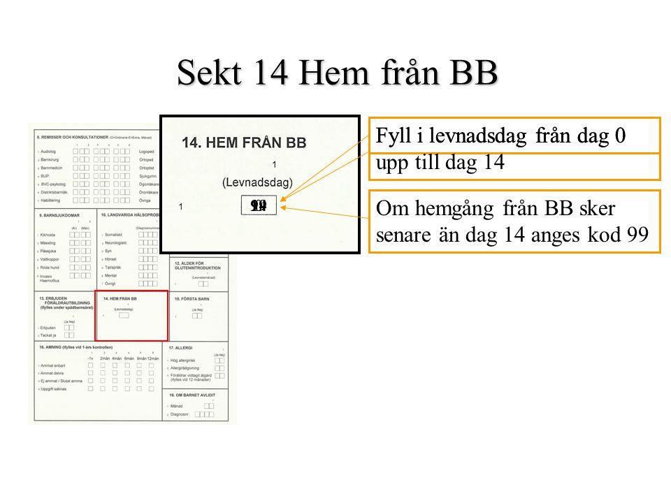 Sekt 14 Hem från BB Fyll i levnadsdag från dag 0 0 Fyll i levnadsdag från dag 0 upp till dag 14 14 Om hemgång från BB sker senare än dag 14 anges kod