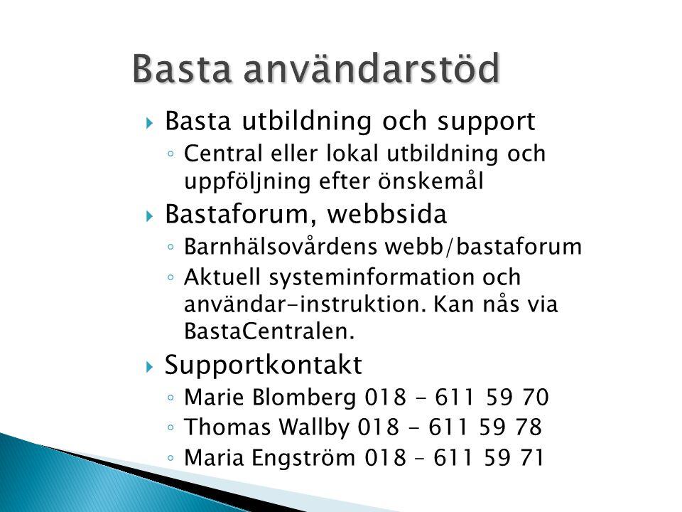 Basta användarstöd  Basta utbildning och support ◦ Central eller lokal utbildning och uppföljning efter önskemål  Bastaforum, webbsida ◦ Barnhälsovå