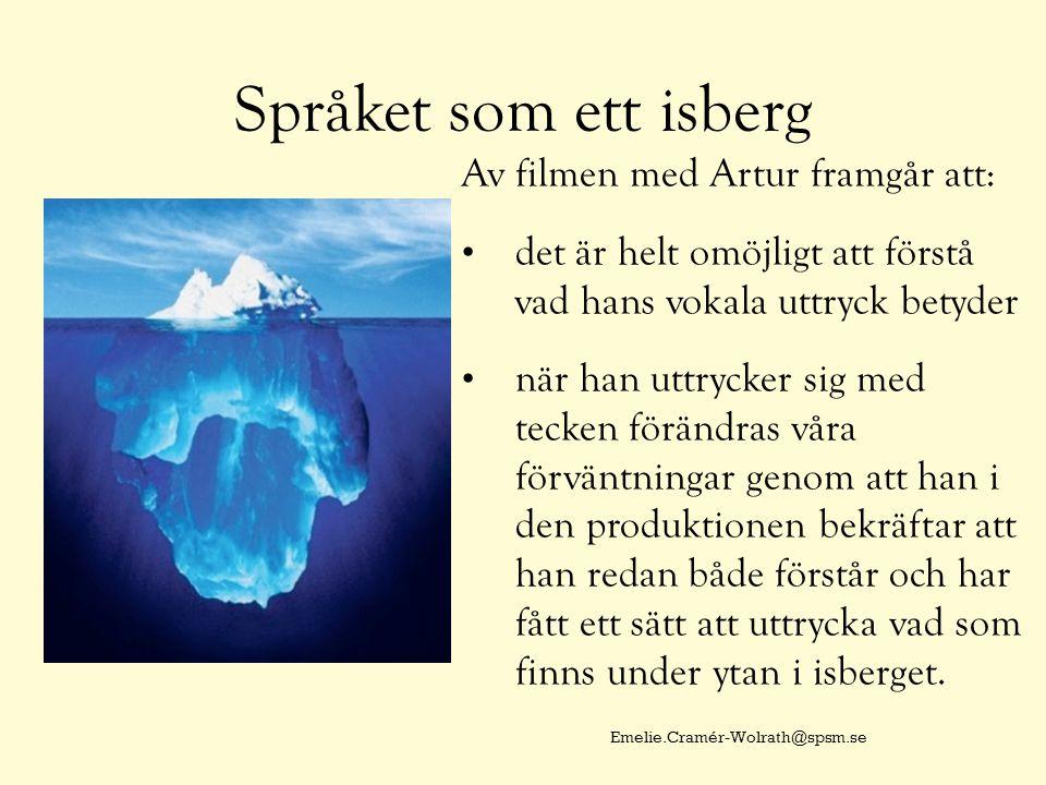 Språket som ett isberg Av filmen med Artur framgår att: det är helt omöjligt att förstå vad hans vokala uttryck betyder när han uttrycker sig med tecken förändras våra förväntningar genom att han i den produktionen bekräftar att han redan både förstår och har fått ett sätt att uttrycka vad som finns under ytan i isberget.