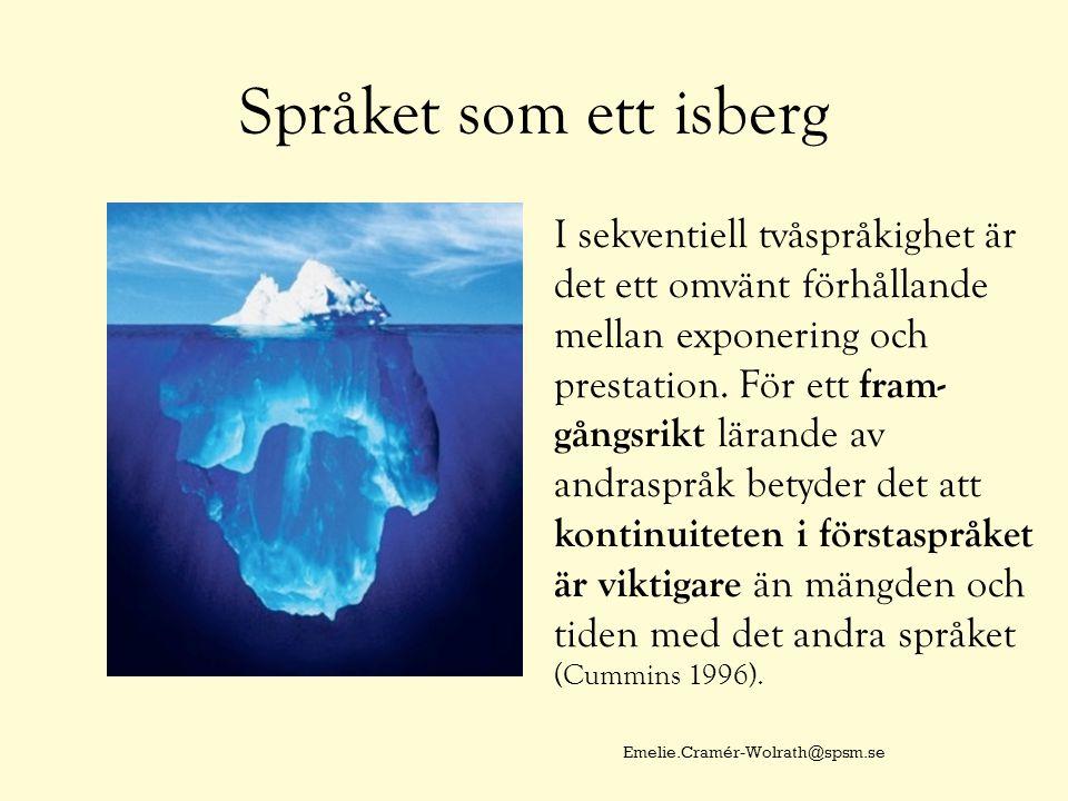 Språket som ett isberg I sekventiell tvåspråkighet är det ett omvänt förhållande mellan exponering och prestation. För ett fram- gångsrikt lärande av