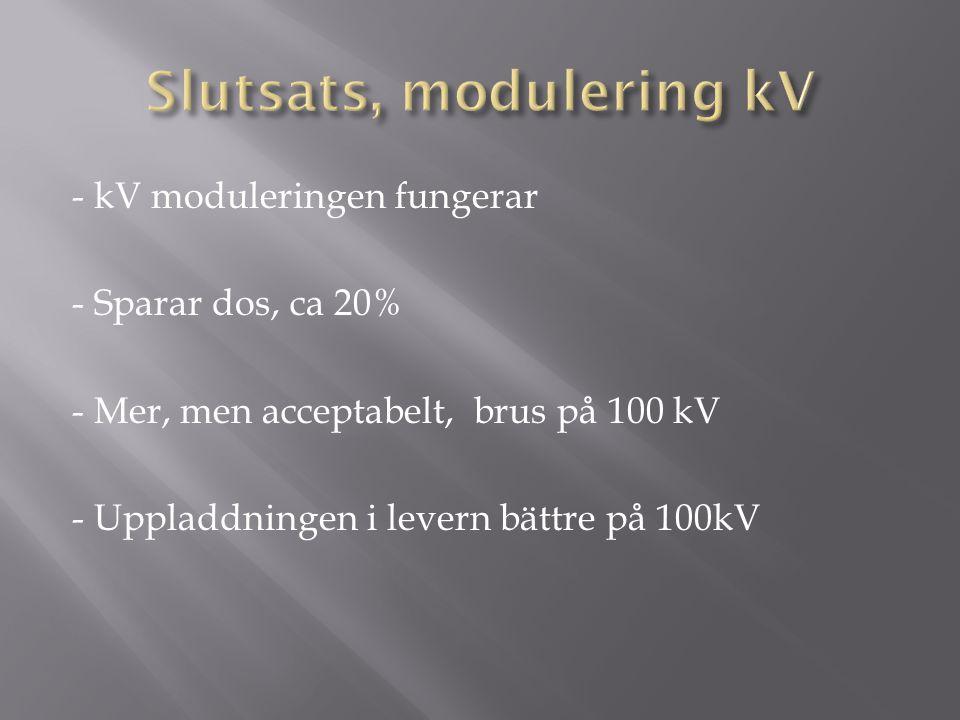 - kV moduleringen fungerar - Sparar dos, ca 20% - Mer, men acceptabelt, brus på 100 kV - Uppladdningen i levern bättre på 100kV