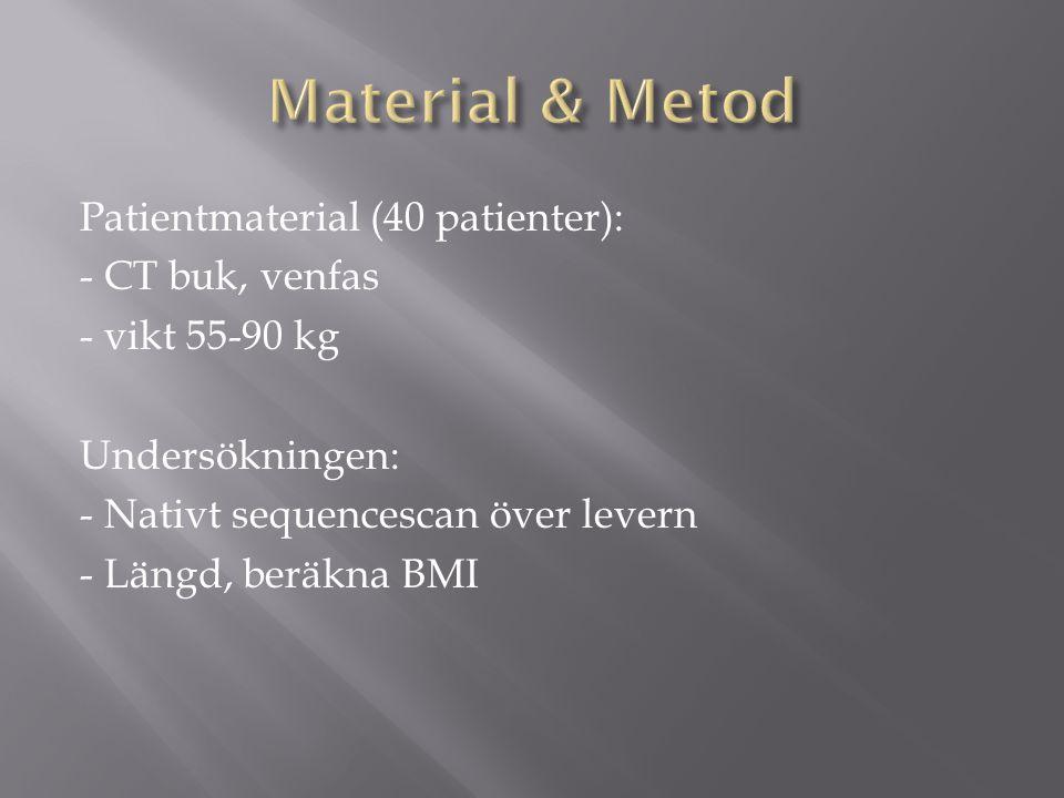 Patientmaterial (40 patienter): - CT buk, venfas - vikt 55-90 kg Undersökningen: - Nativt sequencescan över levern - Längd, beräkna BMI