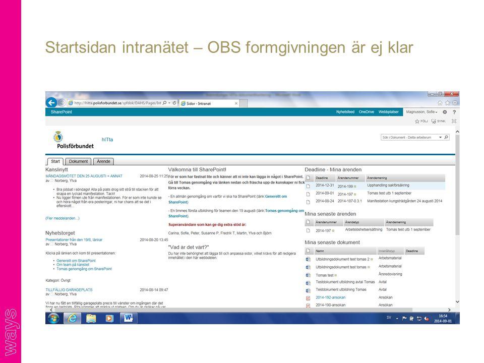 Startsidan intranätet – OBS formgivningen är ej klar