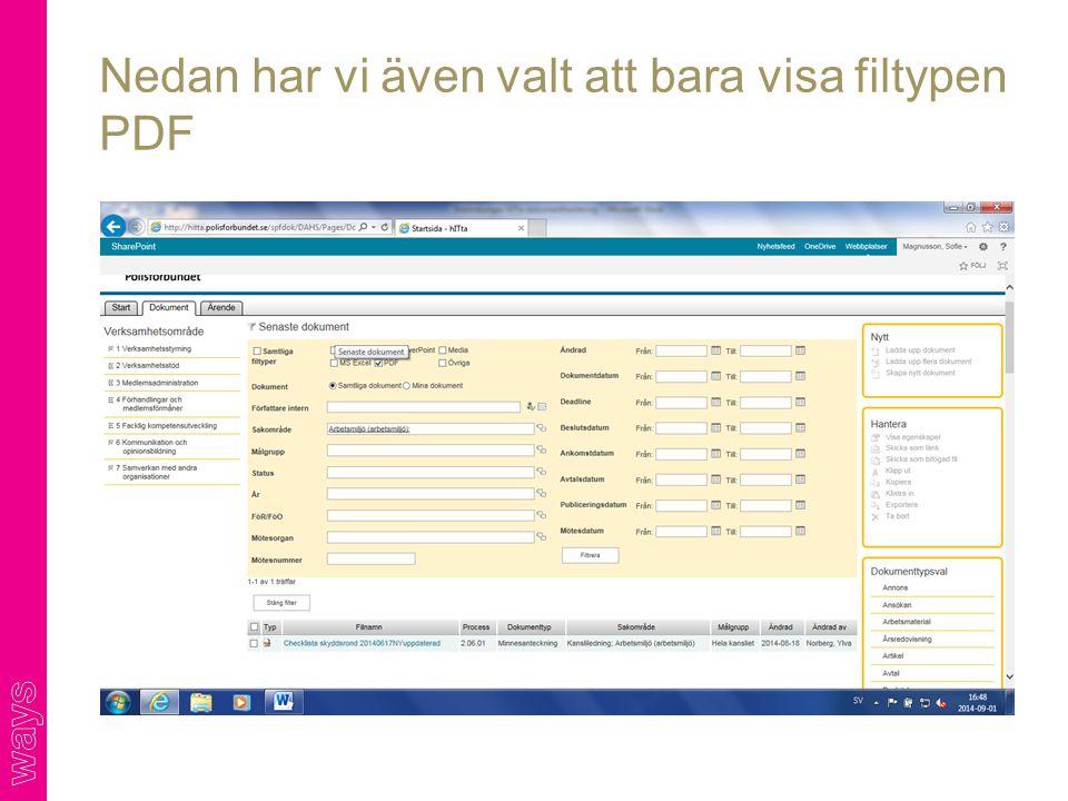 Nedan har vi även valt att bara visa filtypen PDF