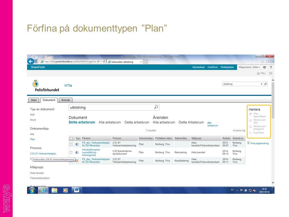 """Förfina på dokumenttypen """"Plan"""""""