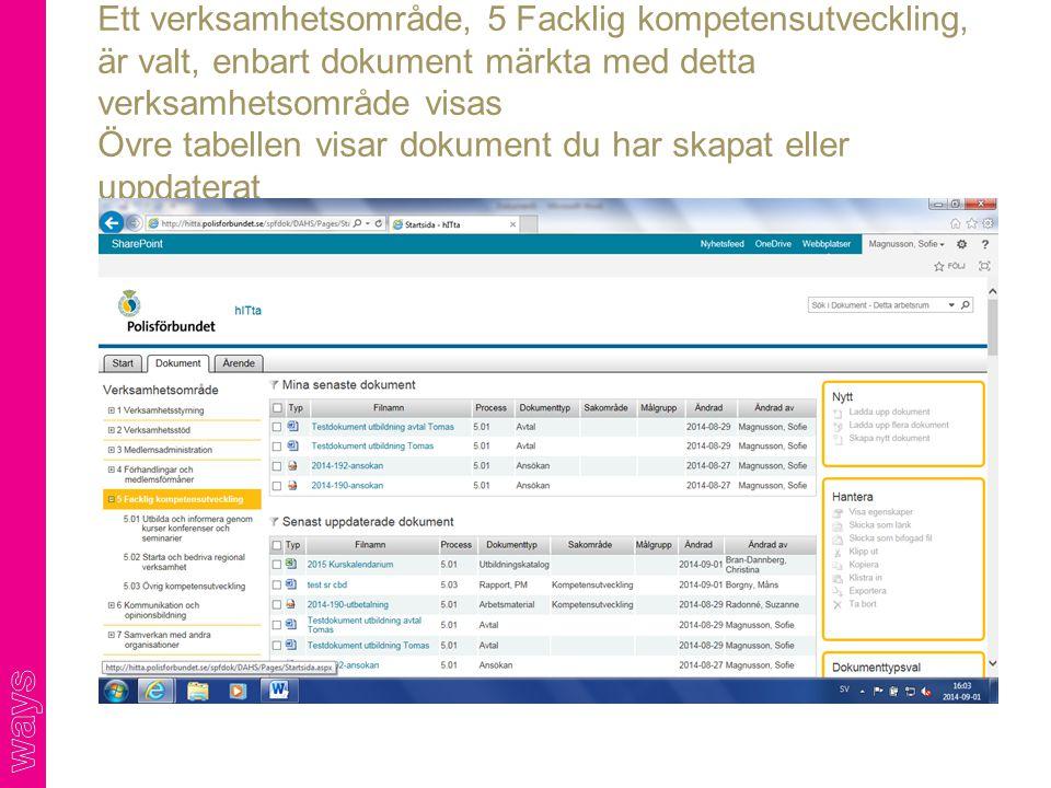 Ett verksamhetsområde, 5 Facklig kompetensutveckling, är valt, enbart dokument märkta med detta verksamhetsområde visas Övre tabellen visar dokument d