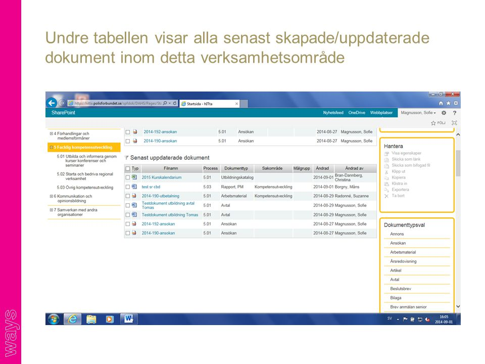 Undre tabellen visar alla senast skapade/uppdaterade dokument inom detta verksamhetsområde