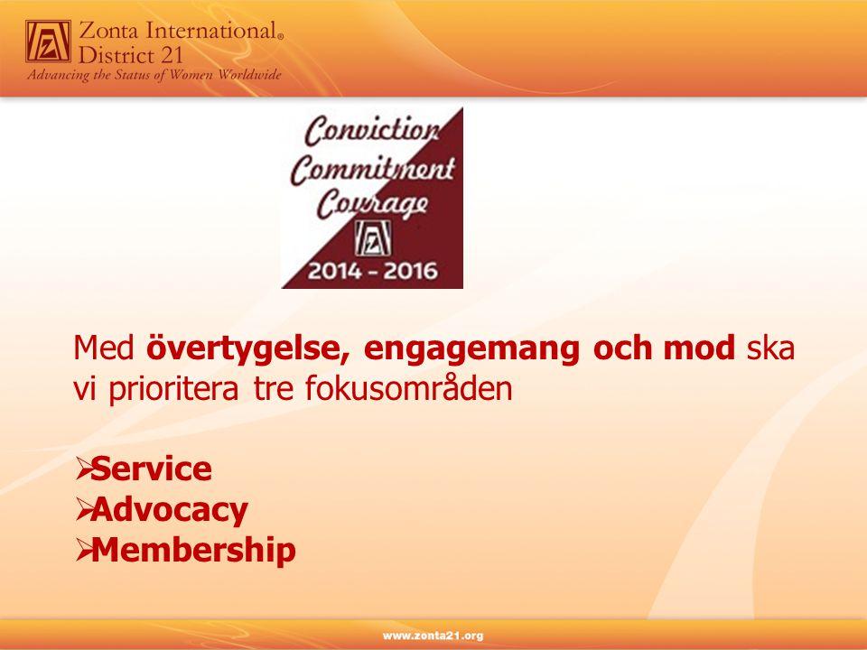 Med övertygelse, engagemang och mod ska vi prioritera tre fokusområden  Service  Advocacy  Membership