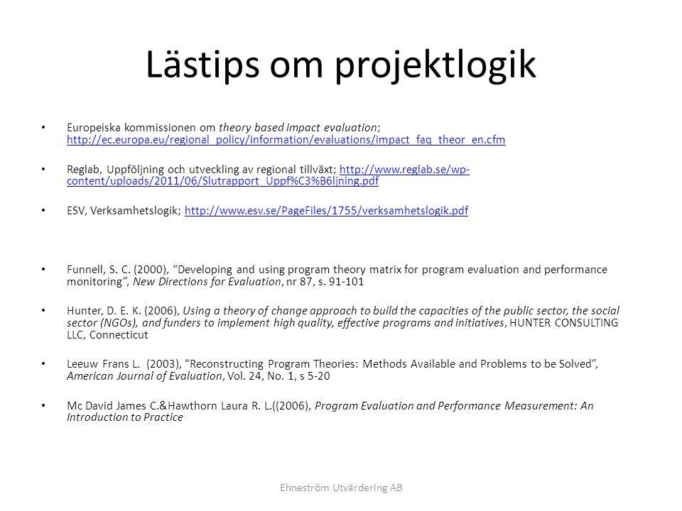 Lästips om projektlogik Europeiska kommissionen om theory based impact evaluation; http://ec.europa.eu/regional_policy/information/evaluations/impact_