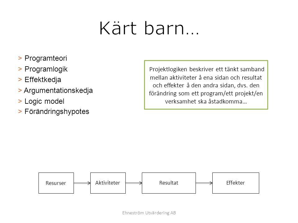 > Programteori > Programlogik > Effektkedja > Argumentationskedja > Logic model > Förändringshypotes Projektlogiken beskriver ett tänkt samband mellan