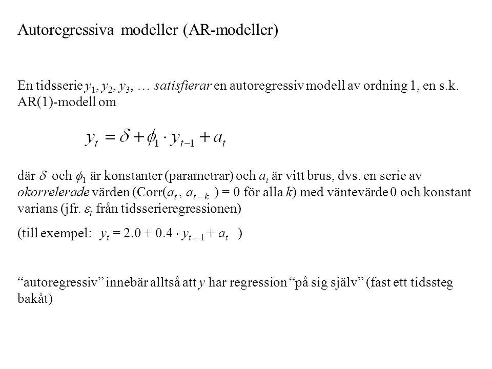 Autoregressiva modeller (AR-modeller) En tidsserie y 1, y 2, y 3, … satisfierar en autoregressiv modell av ordning 1, en s.k. AR(1)-modell om där  oc