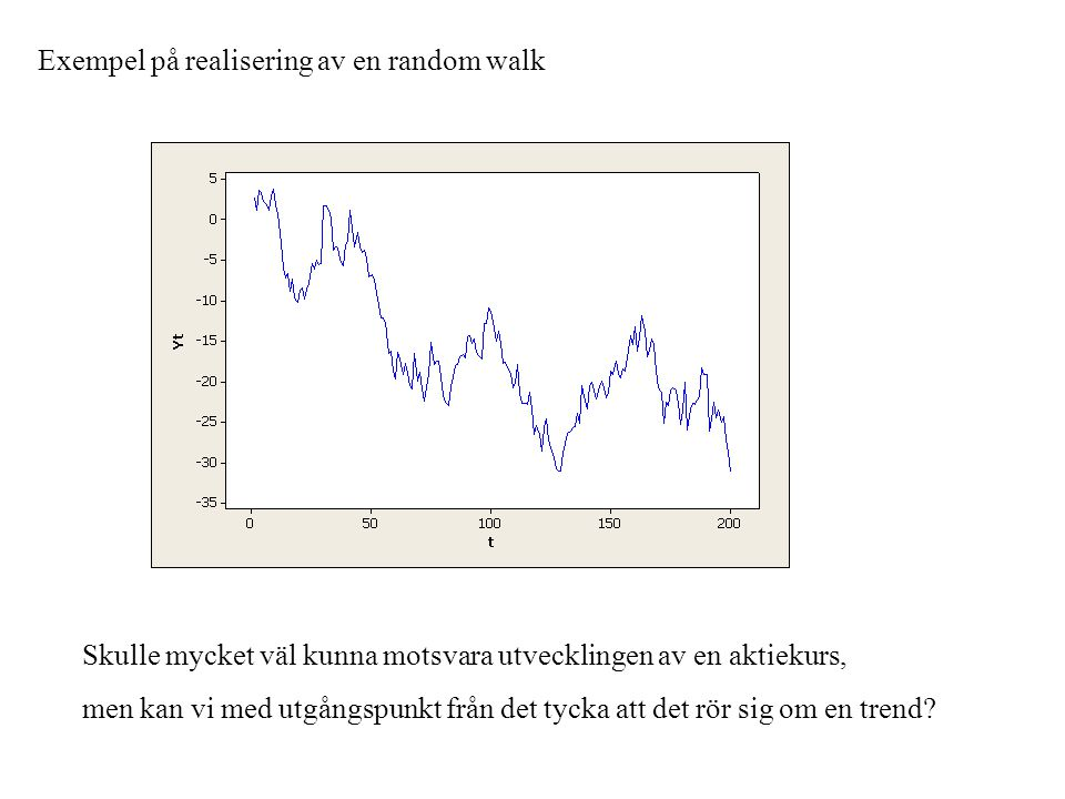 Exempel på realisering av en random walk Skulle mycket väl kunna motsvara utvecklingen av en aktiekurs, men kan vi med utgångspunkt från det tycka att