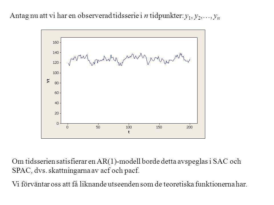 Antag nu att vi har en observerad tidsserie i n tidpunkter: y 1, y 2,…, y n Om tidsserien satisfierar en AR(1)-modell borde detta avspeglas i SAC och
