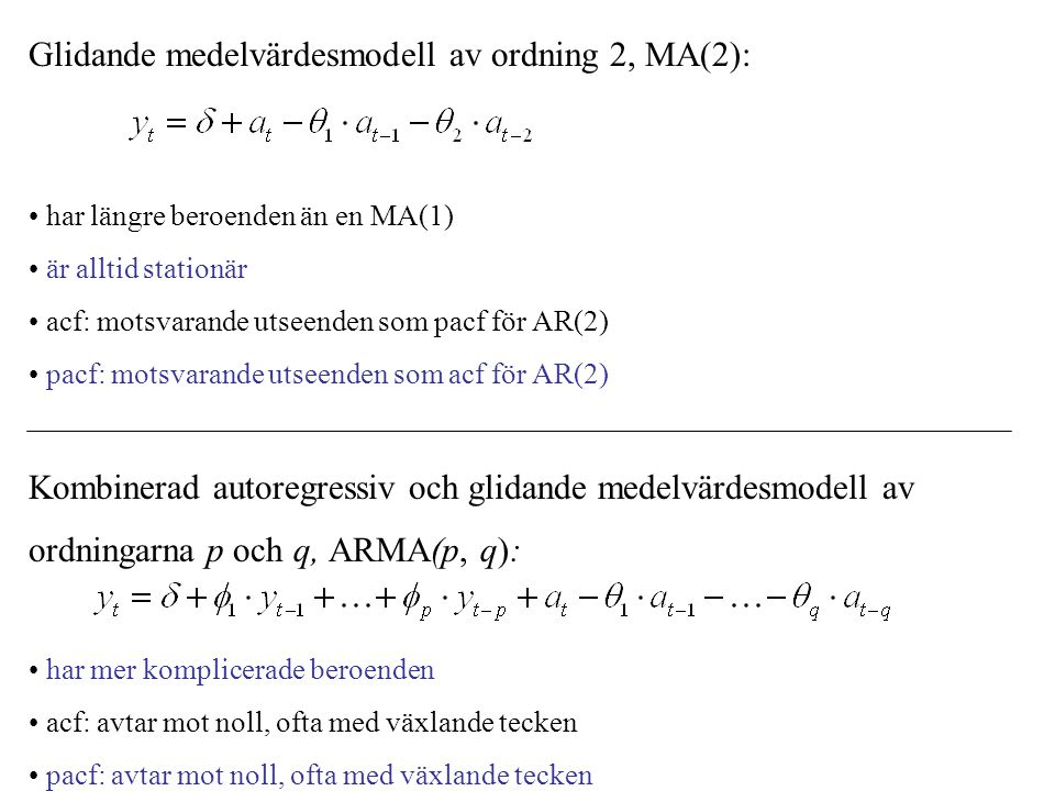 Glidande medelvärdesmodell av ordning 2, MA(2): har längre beroenden än en MA(1) är alltid stationär acf: motsvarande utseenden som pacf för AR(2) pac