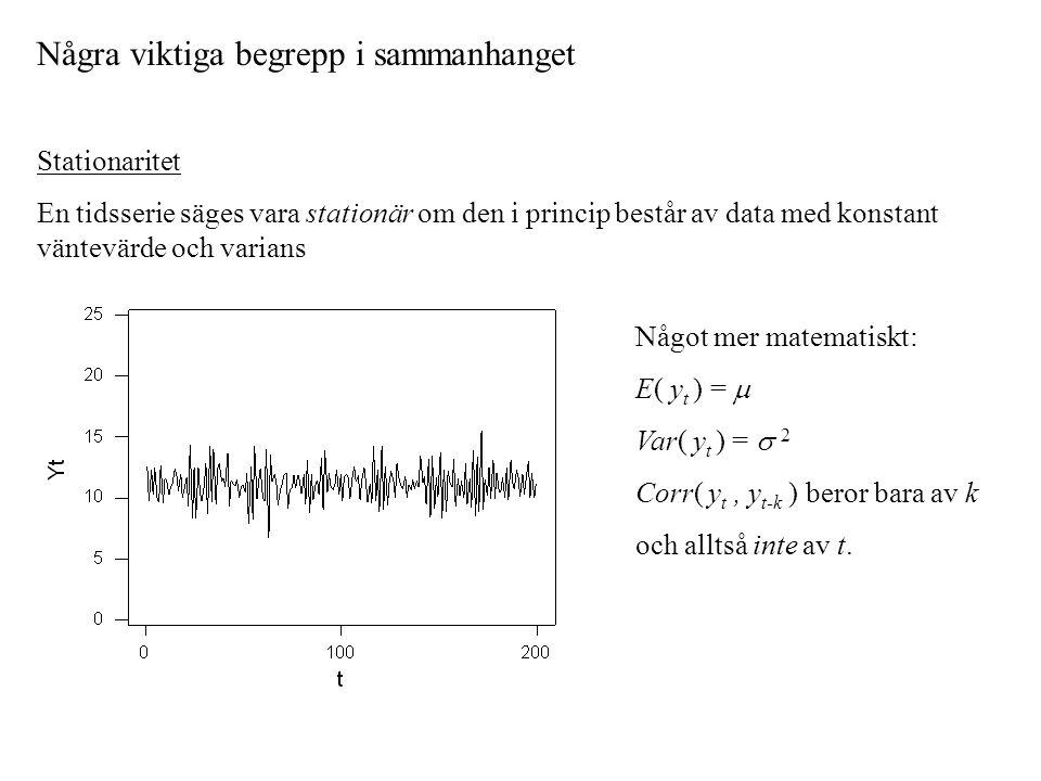 Några viktiga begrepp i sammanhanget Stationaritet En tidsserie säges vara stationär om den i princip består av data med konstant väntevärde och varia