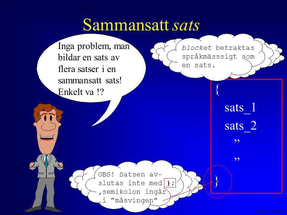 """Anders Sjögren Sammansatt sats { sats_1 sats_2 """" } Inga problem, man bildar en sats av flera satser i en sammansatt sats! Enkelt va !? blocket betrakt"""