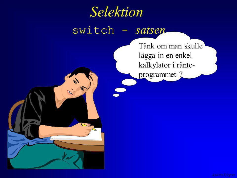Anders Sjögren Selektion switch - satsen Tänk om man skulle lägga in en enkel kalkylator i ränte- programmet ?
