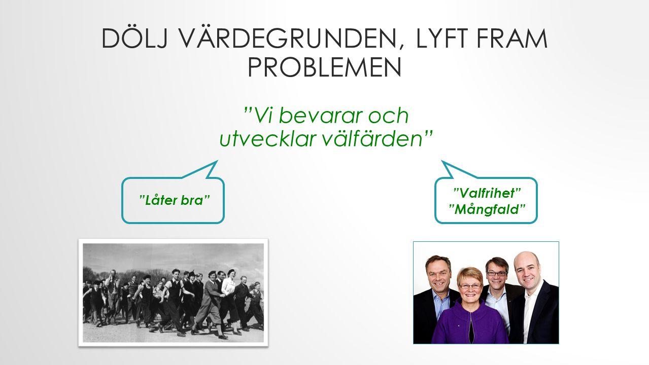 DÖLJ VÄRDEGRUNDEN, LYFT FRAM PROBLEMEN Vi bevarar och utvecklar välfärden Låter bra Valfrihet Mångfald