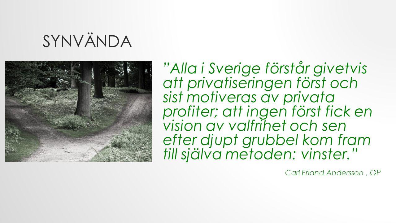 SYNVÄNDA Alla i Sverige förstår givetvis att privatiseringen först och sist motiveras av privata profiter; att ingen först fick en vision av valfrihet och sen efter djupt grubbel kom fram till själva metoden: vinster. Carl Erland Andersson, GP
