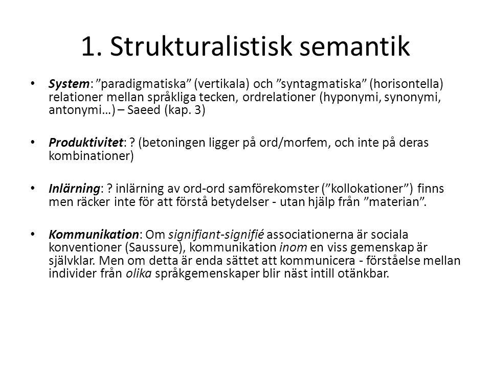 """1. Strukturalistisk semantik System: """"paradigmatiska"""" (vertikala) och """"syntagmatiska"""" (horisontella) relationer mellan språkliga tecken, ordrelationer"""