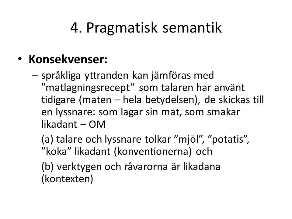 """4. Pragmatisk semantik Konsekvenser: – språkliga yttranden kan jämföras med """"matlagningsrecept"""" som talaren har använt tidigare (maten – hela betydels"""