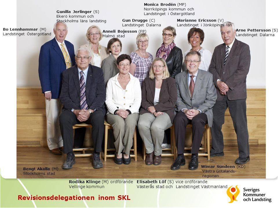 Revisionsdelegationen inom SKL Rodika Klinge (M) ordförande Vellinge kommun Gunilla Jerlinger (S) Ekerö kommun och Stockholms läns landsting Monica Br