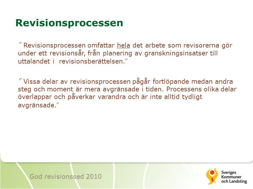 """Revisionsprocessen """" Revisionsprocessen omfattar hela det arbete som revisorerna gör under ett revisionsår, från planering av granskningsinsatser till"""