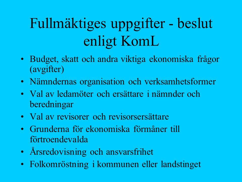Fullmäktiges uppgifter - beslut enligt KomL Budget, skatt och andra viktiga ekonomiska frågor (avgifter) Nämndernas organisation och verksamhetsformer