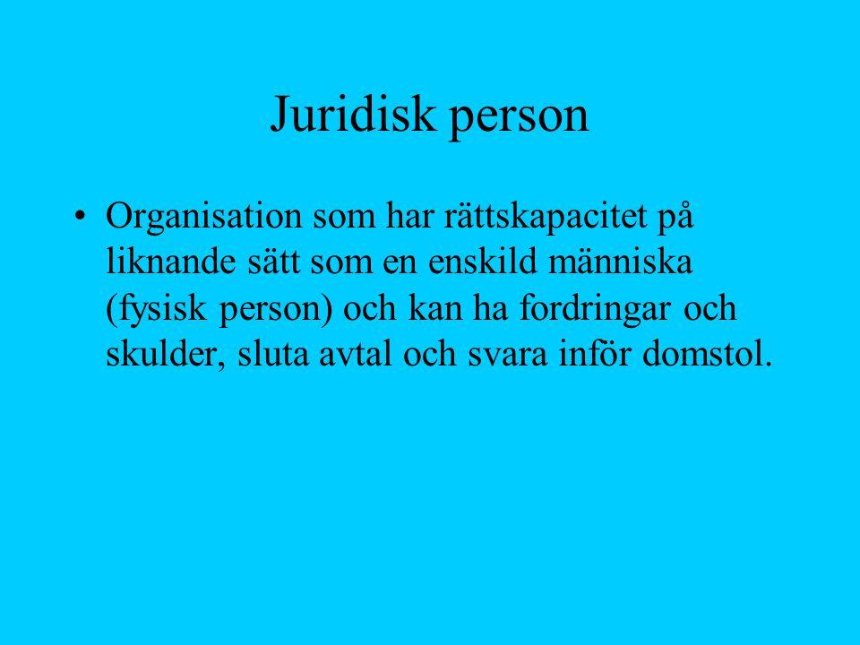 Juridisk person Organisation som har rättskapacitet på liknande sätt som en enskild människa (fysisk person) och kan ha fordringar och skulder, sluta