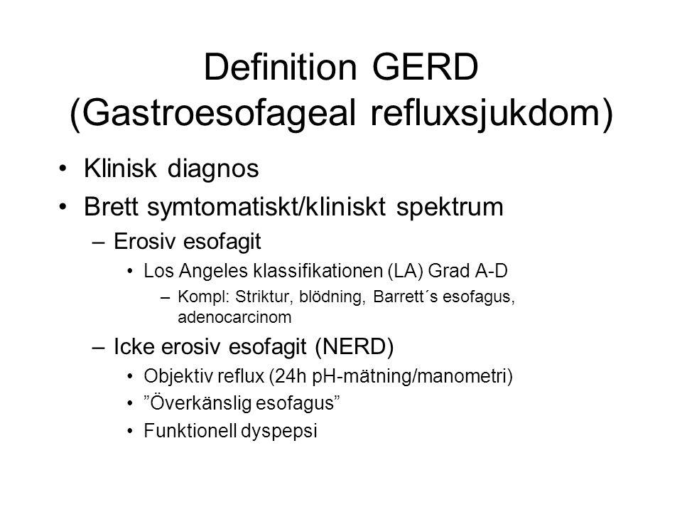 Definition GERD (Gastroesofageal refluxsjukdom) Klinisk diagnos Brett symtomatiskt/kliniskt spektrum –Erosiv esofagit Los Angeles klassifikationen (LA