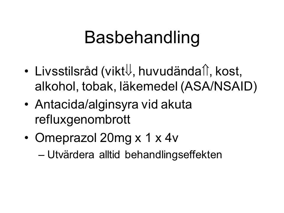 Basbehandling Livsstilsråd (vikt , huvudända , kost, alkohol, tobak, läkemedel (ASA/NSAID) Antacida/alginsyra vid akuta refluxgenombrott Omeprazol 2