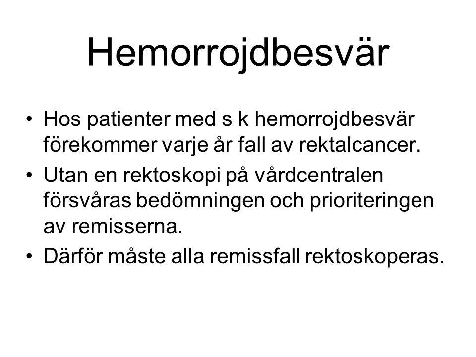 Hemorrojdbesvär Hos patienter med s k hemorrojdbesvär förekommer varje år fall av rektalcancer. Utan en rektoskopi på vårdcentralen försvåras bedömnin