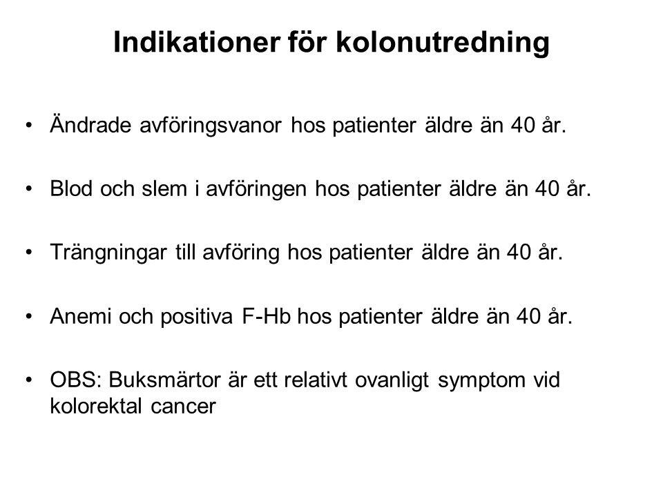Indikationer för kolonutredning Ändrade avföringsvanor hos patienter äldre än 40 år. Blod och slem i avföringen hos patienter äldre än 40 år. Trängnin